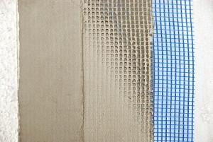 Closeup of  wall facade layers - shallow focus